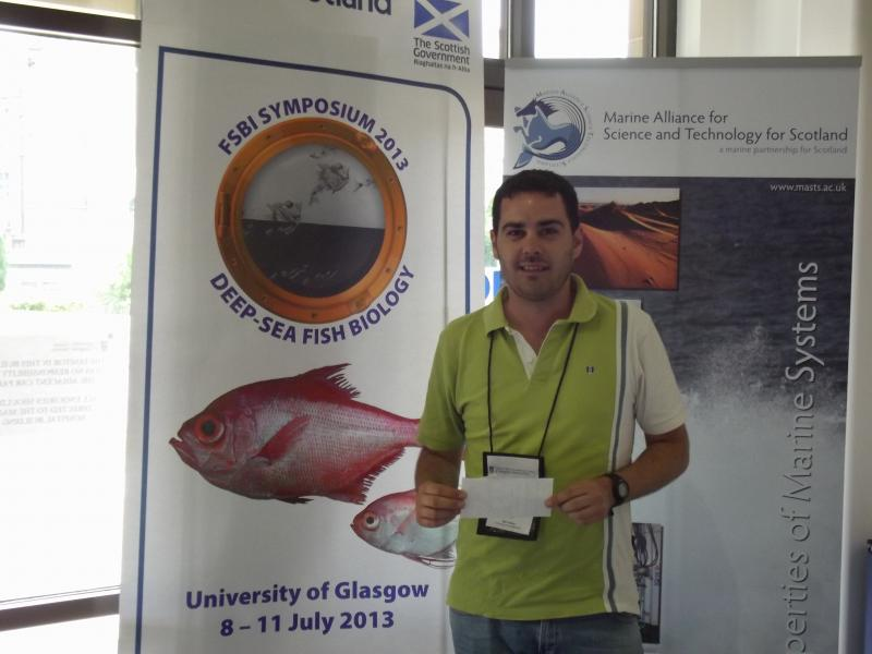 Congratulations to Rui Pedro Vieira, a PhD student who received 110 euros from us so he could register and attend the Deep Sea Biology Symposium in Glasgow. Go Rui!