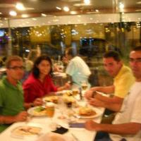 September 2010 September 2010 - And, as usual, after the fish were delivered, the tanks were cleaned, and the staff showered (with the oxygen and pH probes together, also as usual), it was time to enjoy a really nice meal with our hosts Ana Ferreira (left, back) and Miguel Paiva (João's former student from E.S.T.M., left, right).