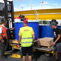 June 2009 June 2009 - ...But the folks from DHL have gotten to know us Flying Sharkers pretty good and palletizing goes on without a hitch.