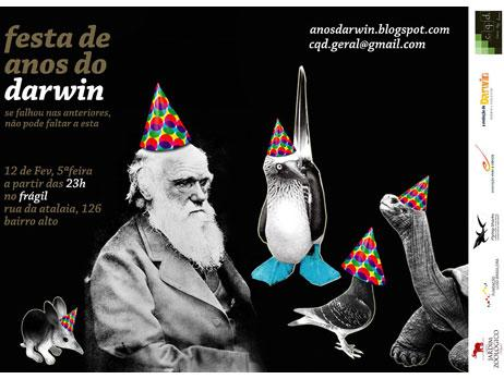 Charles Darwin turned 200 years old February 12 and C.Q.D. (which is Portuguese for Q.E.D.) decided to throw him a Surprise Birthday Party, with a giant Galapagos Tortoise chocolate cake and everything! They asked us if we'd like to pitch in; well, of course! We wouldn't be in business if it weren't for good ol' Charles start explaining how things work and getting everybody fascinated with the natural world!