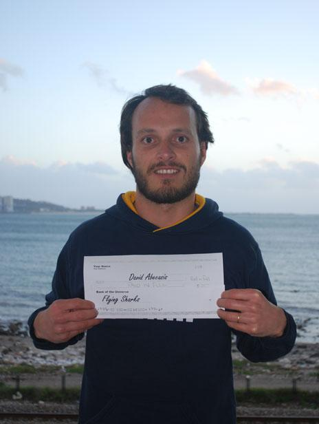 Congratulations, David Abecasis, who just got 791 euros from us so he may travel to South Africa and attend the Second International Conference on Fish Telemetry. Don't miss out on the opportunity to jump in the water with them Great Whites, David! :-)
