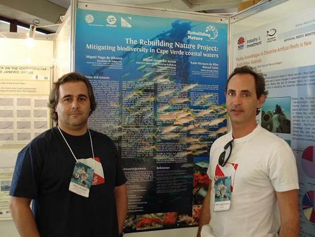 Congratulations to Miguel de Oliveira, who is conducting his Ph.D. on artificial reef growth on a sunken ship off Cape Verde. Miguel presented his work in a Congress in Brazil and asked if we could give him a hand. So we cut him a 500 euros cheque to help out with his travel expenses.