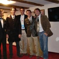 October 2011 After such an awesome meeting, with multiple deals and three presentations (plus mentions in three others!), the team put on their best frock and headed for the Gala Banquet, all wearing shark ties (except Filipe, who looked exceptionally smart). Left to right: Filipe Rodrigues, Rui Guedes, João Correia, José Graça, Nuno Rodrigues.