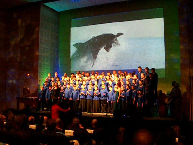 The opening of 2012's International Aquarium Congress, in Cape Town, featured a spectacular show with a lovely chorus of young local voices.